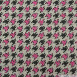 Velours de laine pied de coq fuchsia fond gris