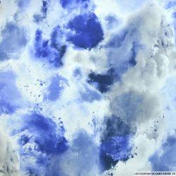 Crêpe imprimé nuage bleu