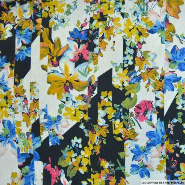 Crêpe imprimé patchwork fleur curry et bleu