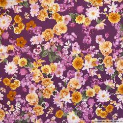 Crêpe imprimé fleurs vintage fond violet