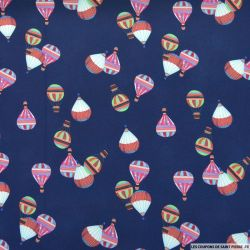Crêpe polyester montgolfières fond marine