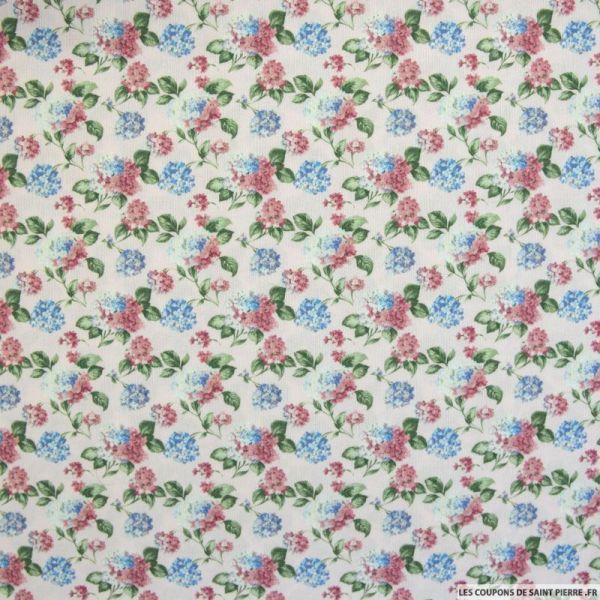Crêpe imprimé hortensia fond rose