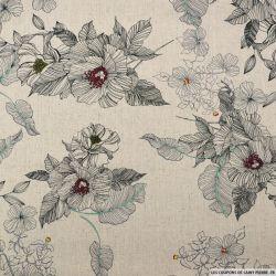 Lin viscose imprimé crayonné fleurs fond naturel