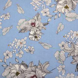 Lin viscose imprimé crayonné fleurs fond ciel