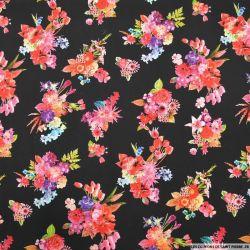Viscose imprimée bouquets dahlia fond noir