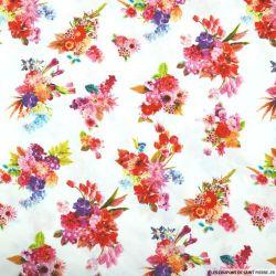 Viscose imprimée bouquets dahlia fond blanc
