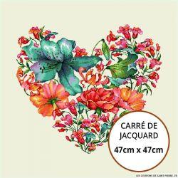 Jacquard coeur jungle - 47cm x 47cm