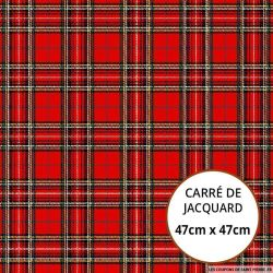 Jacquard tartan fond rouge - 47cm x 47cm