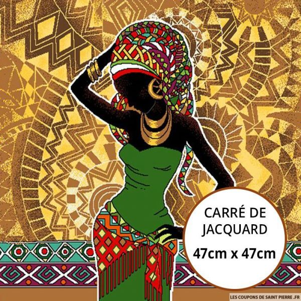 Jacquard africaine robe verte - 47cm x 47cm
