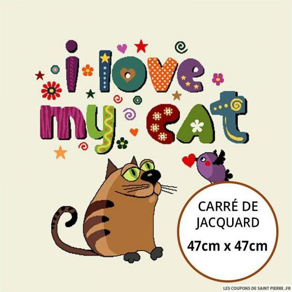 Jacquard i love my cat - 47cm x 47cm