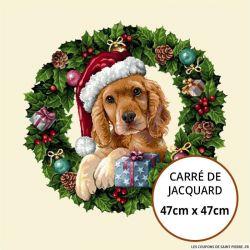 Jacquard chien de noël - 47cm x 47cm