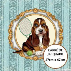 Jacquard chien au tennis - 47cm x 47cm