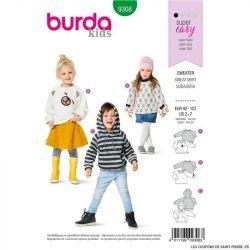 Patron Burda n°9308 : SweatShirt Enfant