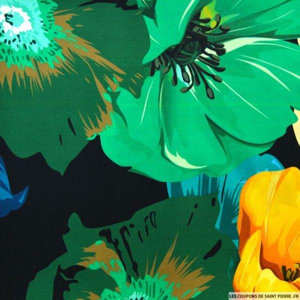 Viscose imprimée grande fleurs fond vert
