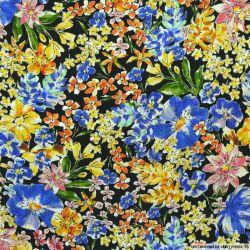 Crêpe Viscose imprimée champêtre multicolore