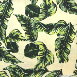 Lin viscose imprimé tropical fond beige