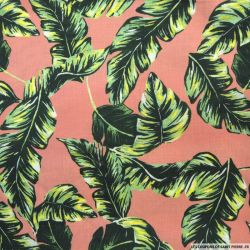 Lin viscose imprimé tropical fond terracotta