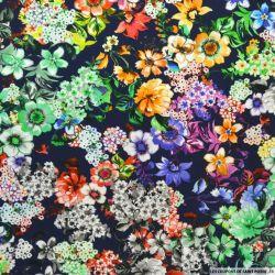 Viscose imprimée fleurs multicolores