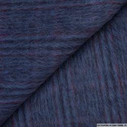 Laine mélangée poils longs bleu rayures