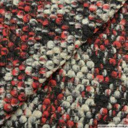 Maille tricot laine mélangée bubble rouge chiné