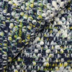 Maille tricot laine mélangée bubble bleu et vert