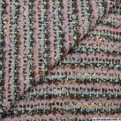 Maille tricot laine mélangée fantaisie fuchsia