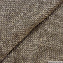 Maille tricot laine mélangée marron chiné