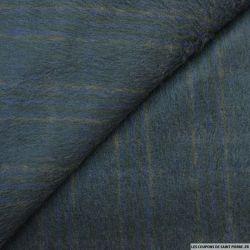 Laine et mohair poils longs bleu carreaux ocre