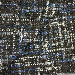 Tweed polyester fantaisie bleu et gris fond noir