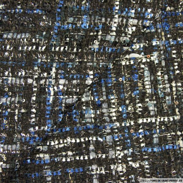 Tweed polyviscose fantaisie bleu et gris fond noir