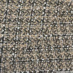 Tweed polyester fantaisie noir et blanc fond beige