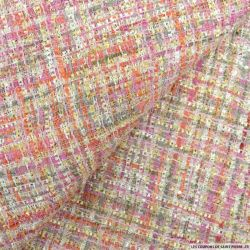 Tweed polyester fantaisie rose et or