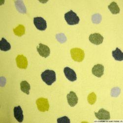 Polaire 100% coton à pois fond vert pomme