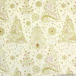 Coton imprimé sapin graphique doré fond écru
