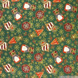 Coton imprimé décoration de Noël fond vert sapin