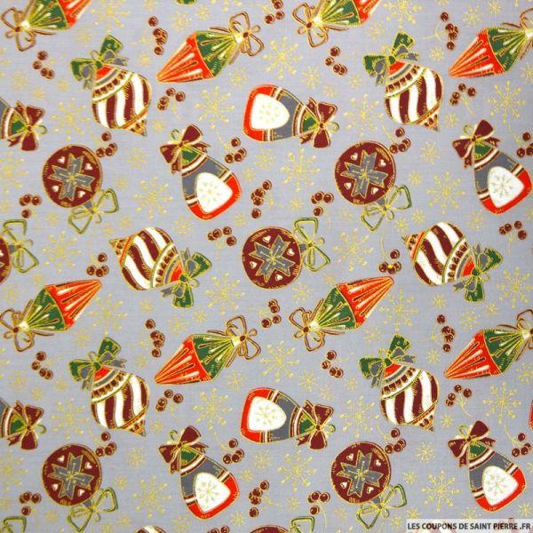 Coton imprimé décoration de Noël fond gris
