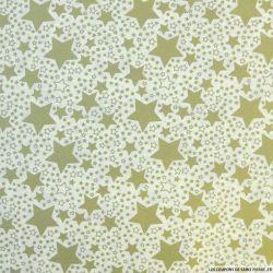 Coton imprimé étoile de Noël  doré fond écru