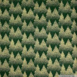 Coton imprimé forêt de sapin doré fond vert sapin