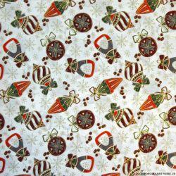 Coton imprimé décoration de Noël fond écru