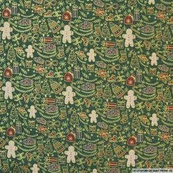 Coton imprimé esprit de Noël fond vert sapin