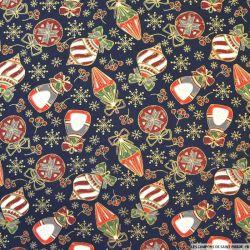 Coton imprimé décoration de Noël fond marine