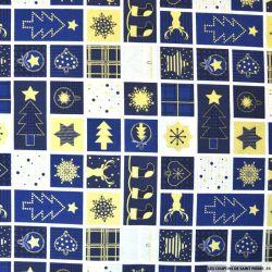 Coton imprimé papier cadeau bleu
