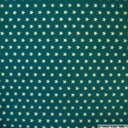 Coton imprimé étoiles dorées 1cm fond vert sapin