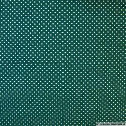Coton imprimé pois 2 mm doré fond vert
