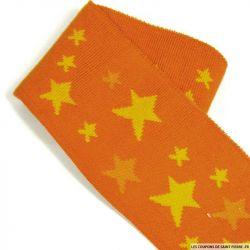 Bord côte étoile fond citrouille Oeko-Tex