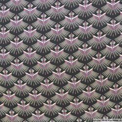 Microfibre imprimée éventail violet fond noir