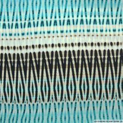 Microfibre imprimée kaleidoscope turquoise et marron