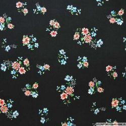 Microfibre imprimée bouquet de fleurs fond noir