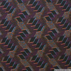 Microfibre imprimée labyrinthe à pois fond violet