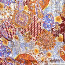 Tissu Dévoré rayé lurex imprimé cachemire curry et bleu